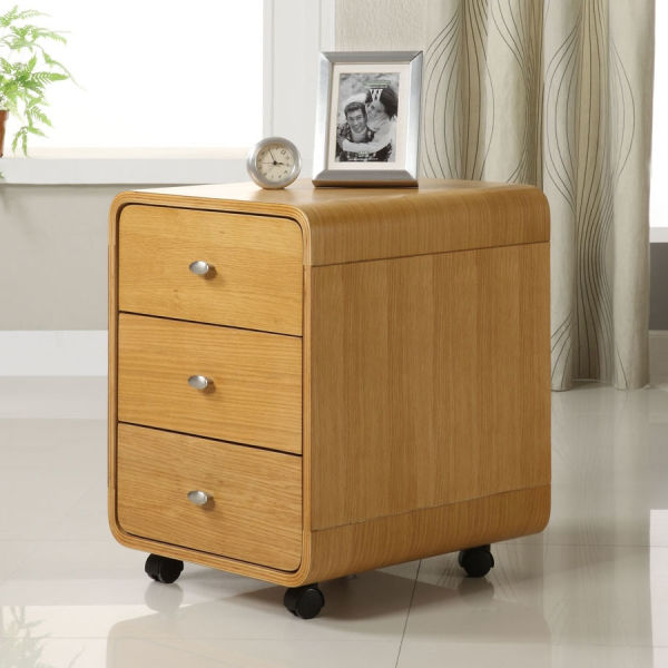 Curve Three Drawer Oak Pedestal