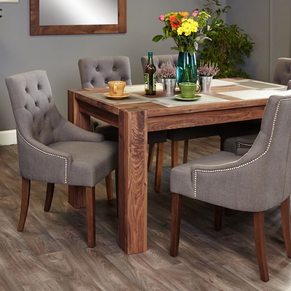 Shiro Walnut 6-8 seat table and 6 grey chairs with arms