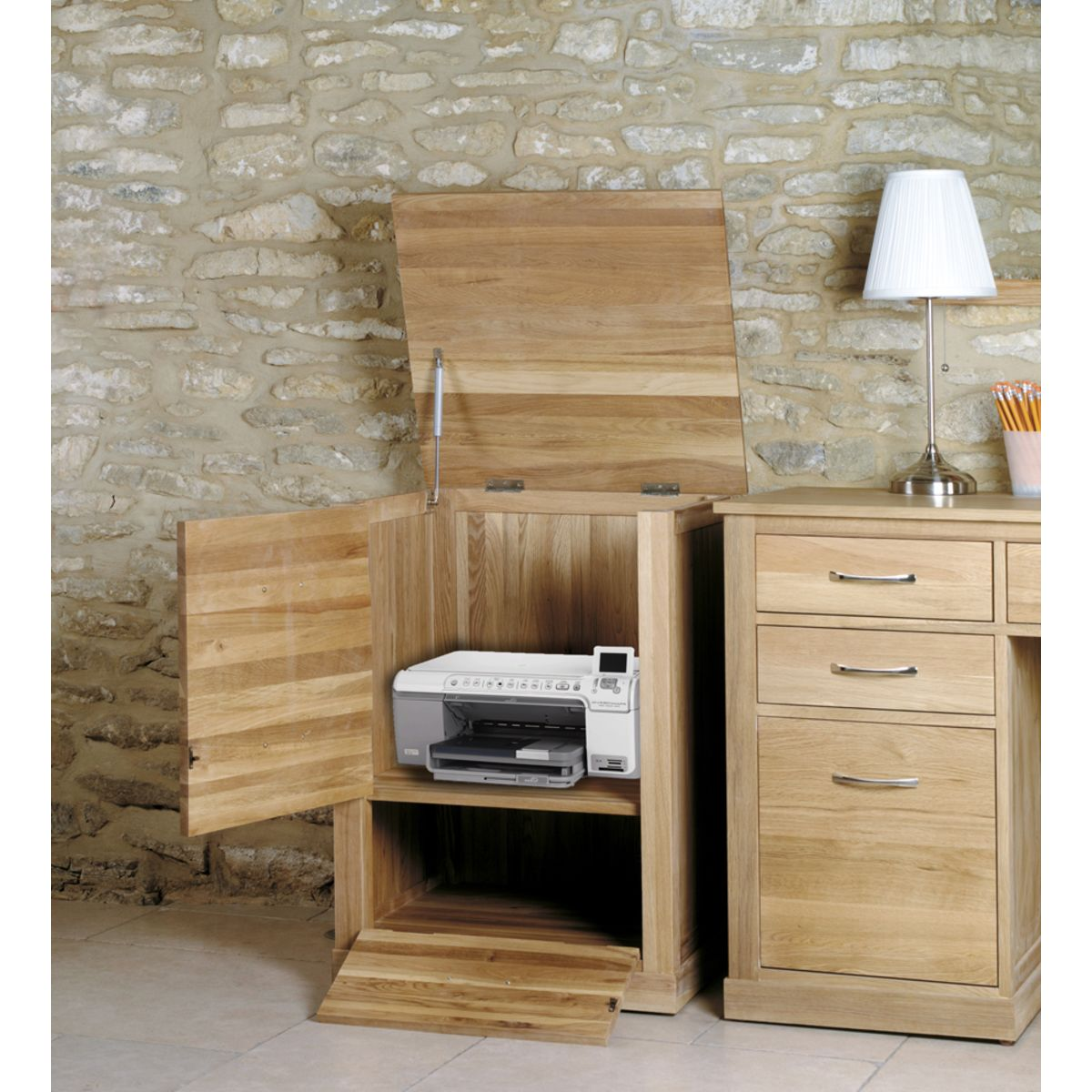 Mobel Light Oak Printer Cupboard Wooden Furniture Store