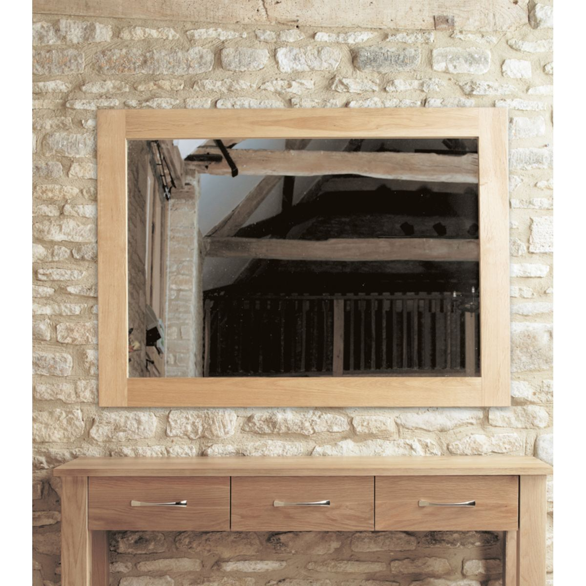 Give the illusion of extra space with an Oak Mirror
