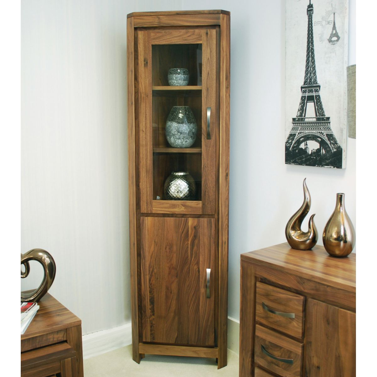 Living Room Cabinet Furniture: Mayan Walnut Glazed Corner Display Cabinet