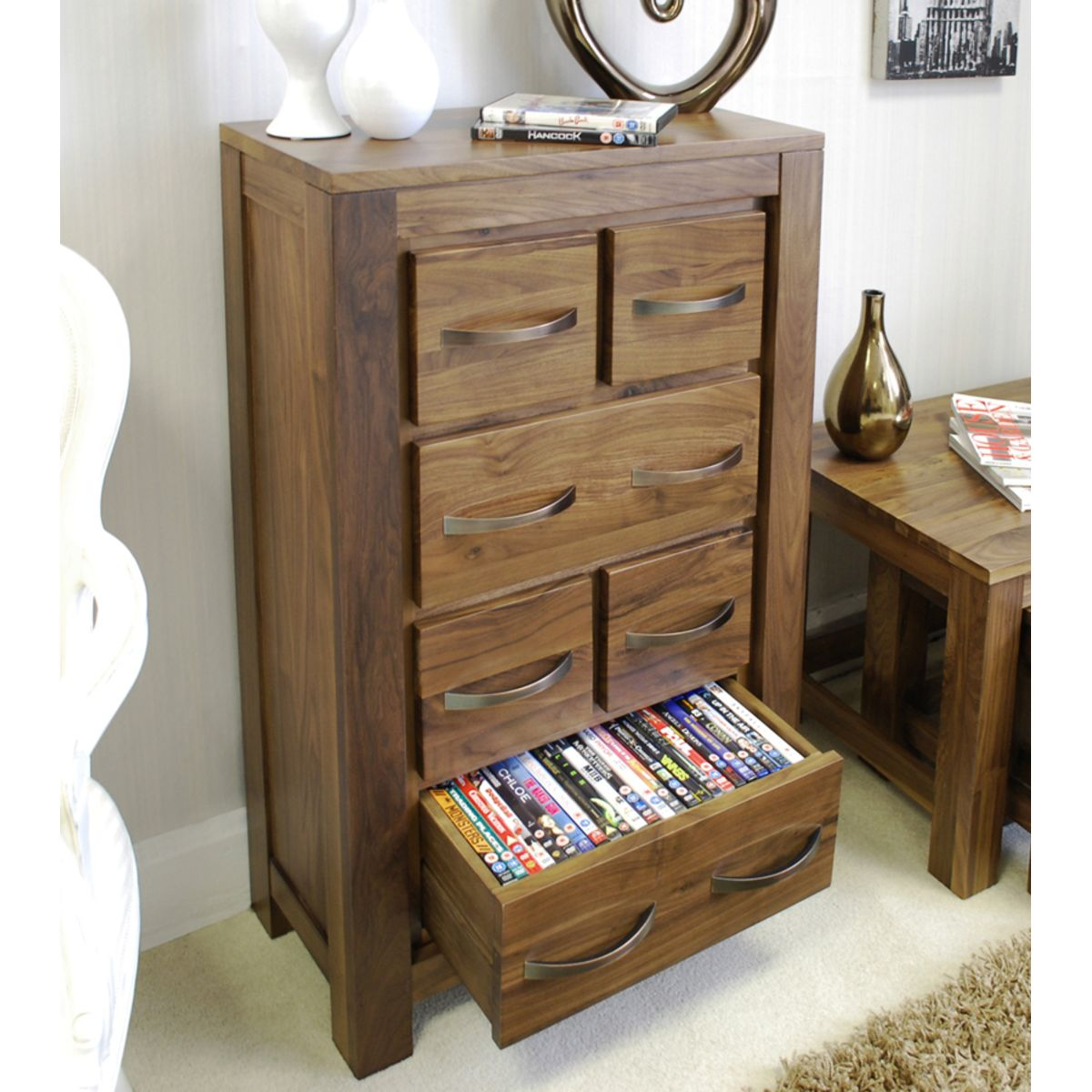 mayan dvd cd storage chest wooden furniture store. Black Bedroom Furniture Sets. Home Design Ideas