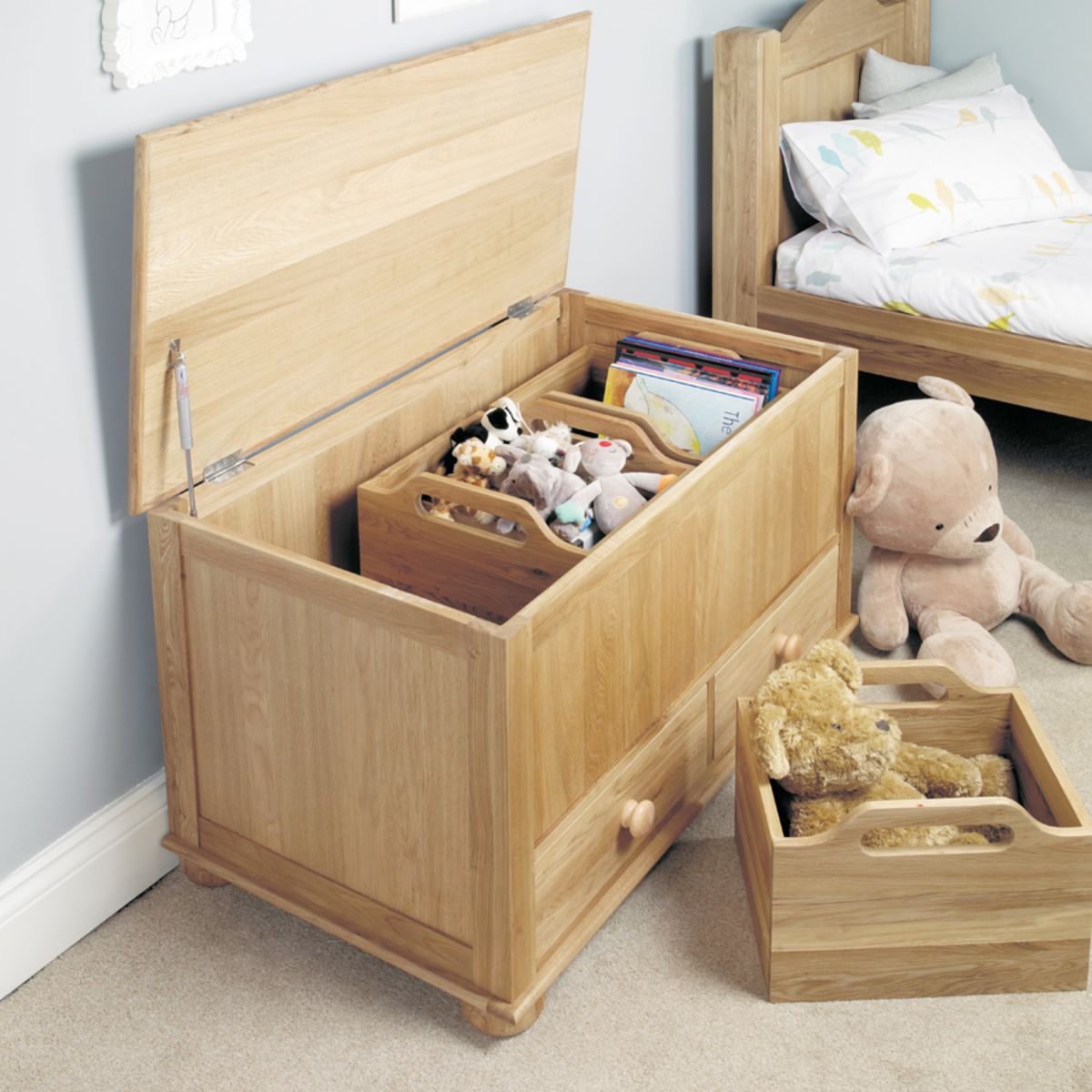 Amelie Oak Toy Box Blanket Box Wooden Furniture Store