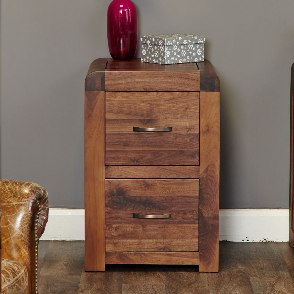 Shiro Walnut Two Drawer Filing Cabinet Wooden Furniture