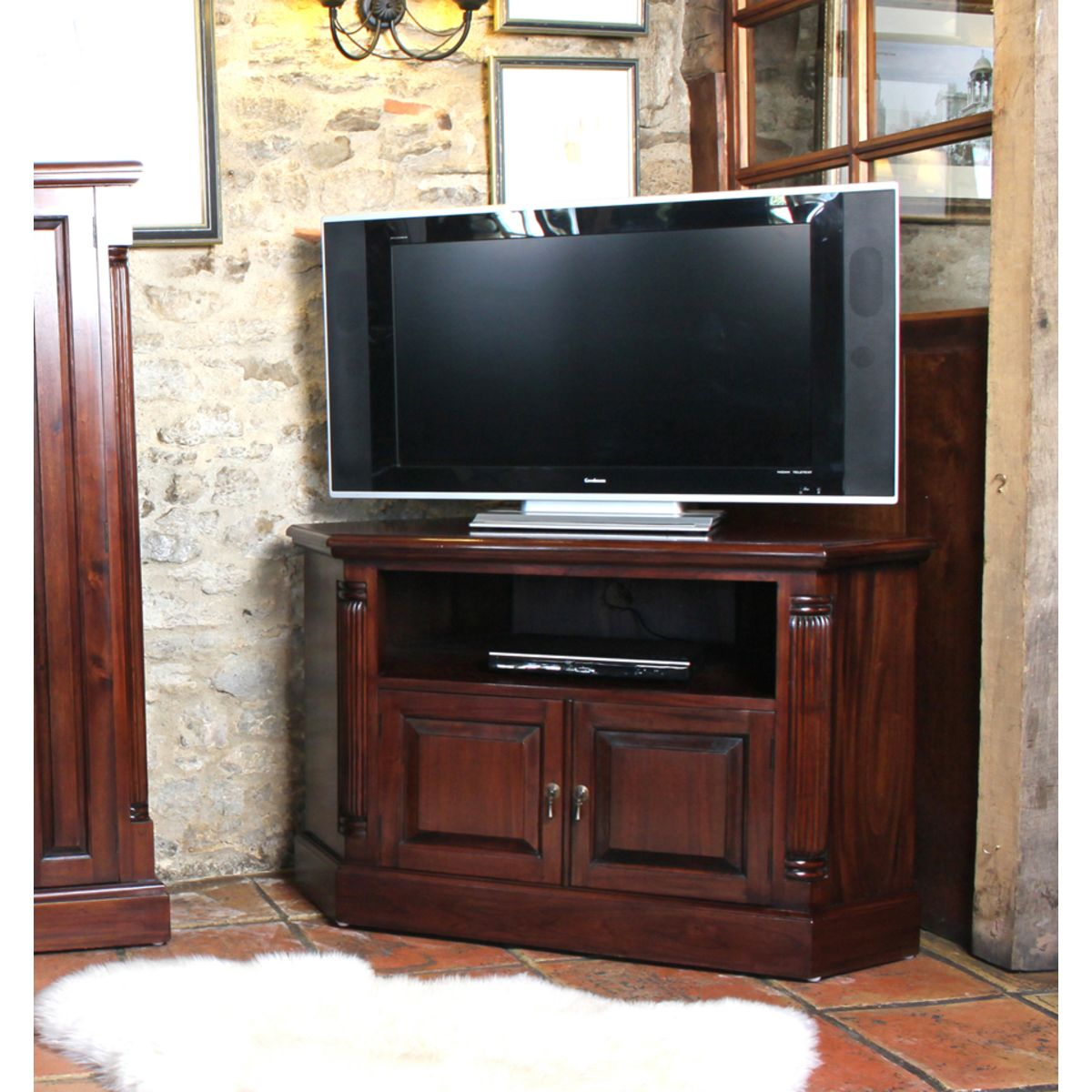 Mahogany corner television cabinet wooden furniture store for Armoire tv