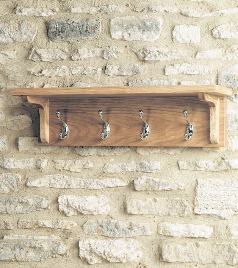 Mobel Light Oak Wall Mounted Coat Rack Wooden Furniture