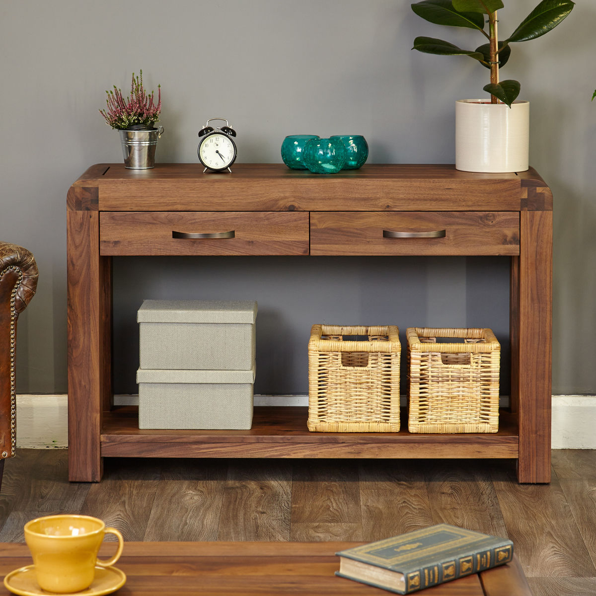 Shiro Walnut Console Table Wooden Furniture Store