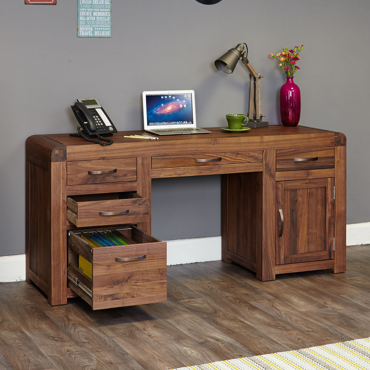 Twin Pine Auto >> Shiro Walnut Twin Pedestal Computer Desk Was £840.00 Now £775.00 - Wooden Furniture Store