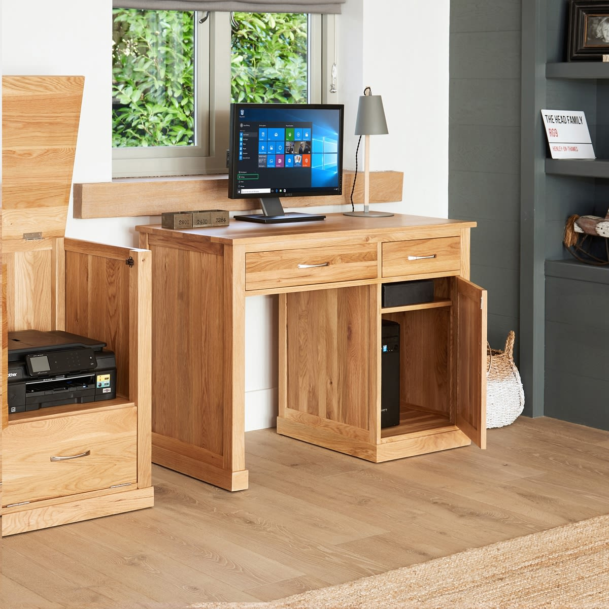 mobel oak single pedestal computer desk