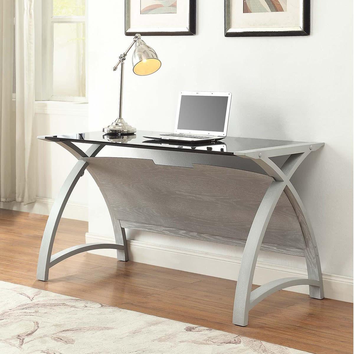 Ash Furniture Store: Curve Home Office Grey Ash Table (130cm) Was £374.00 Now £