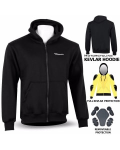 Motorbike Cotton Hoody With Removable Protection Armour Inserts