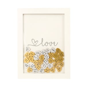 Love Heart Drop Guestbook, choice of Gold or Silver
