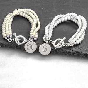 Engraved Triple Strand Pearl Bracelet