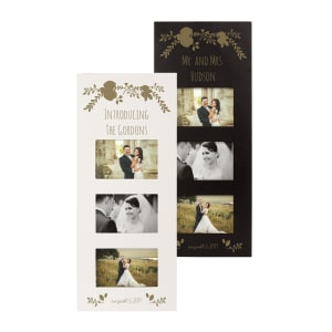 Personalized Gold Floral Wedding Collage Frame, choice of Black or White