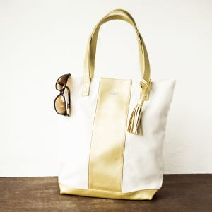Faux Leather Weekender Tote - Gold