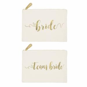 Gold Foil Canvas Clutch, choice of Bride or Team Bride
