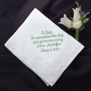 Personalized Father of the Bride Linen Handkerchief