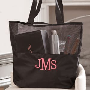 Personalized Black Tote for Wedding Day Essentials