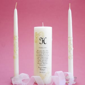 French Lace 1 Corinthians Unity Candle Set