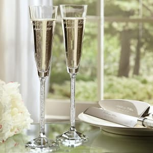 Oleg Cassini Crystal Diamond Toasting Flutes