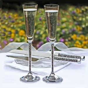 Oleg Cassini Crystal Hematite Toasting Flutes