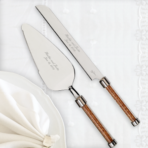 Oleg Cassini Golden Diamond Crystal Cake Knife & Server Set
