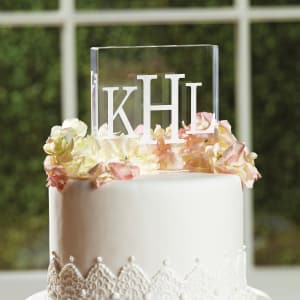Block Monogram Acrylic Square Cake Top