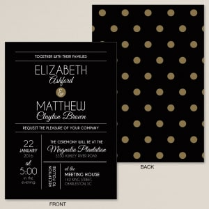 Midnight Polka Dots Wedding Invitation