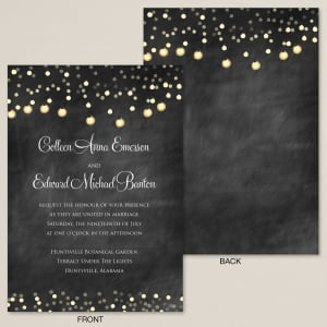 Starry Lights Chalkboard  Wedding Invitation