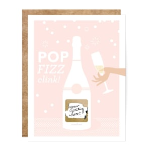Pop Fizz Clink Handwritten Scratch-off Greeting Card for Engagement Celebration