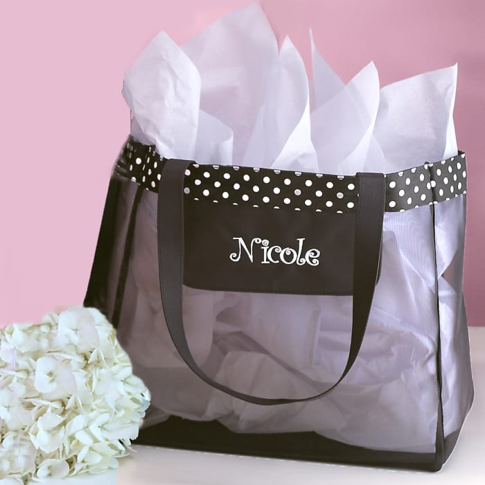 Personalized Black Mesh Polka Dot Tote Exclusively Weddings
