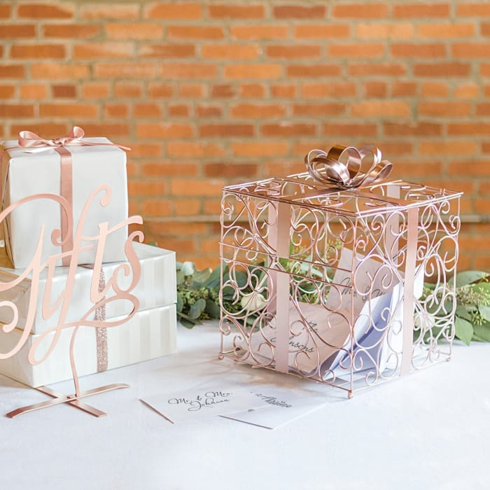 Rose Gold Reception Gift Card Holder | Exclusively Weddings
