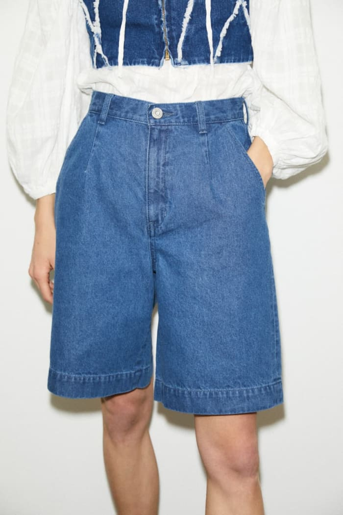 High Waisted DENIM HALF pants