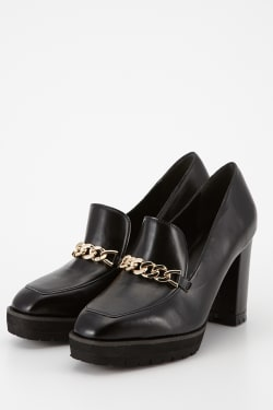 BLOCK HEEL LOAFER PUMPS