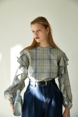 CHECK RUFFLE blouse