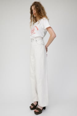 HIGH WAISTED WHITE LOOSE STRAIGHT JEANS