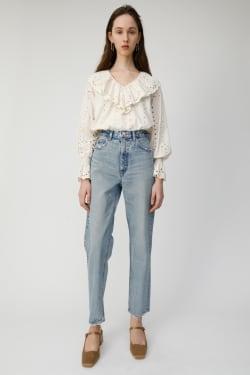 COTTON LACE RUFFLE blouse