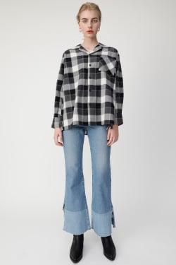 OPEN COLLAR CHECK shirt