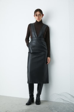 Faux LEATHER SUSPENDER skirt