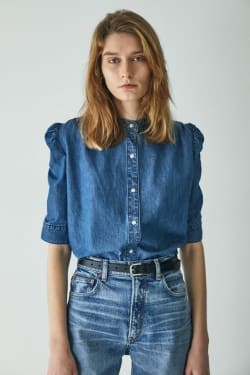GATHER SLEEVE DENIM BLOUSE