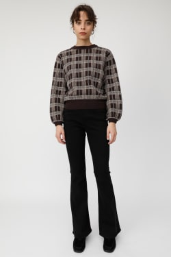 CHECK JACQUARD knit tops