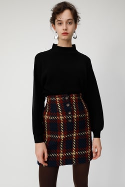 FRONT BUTTON CHECK mini skirt