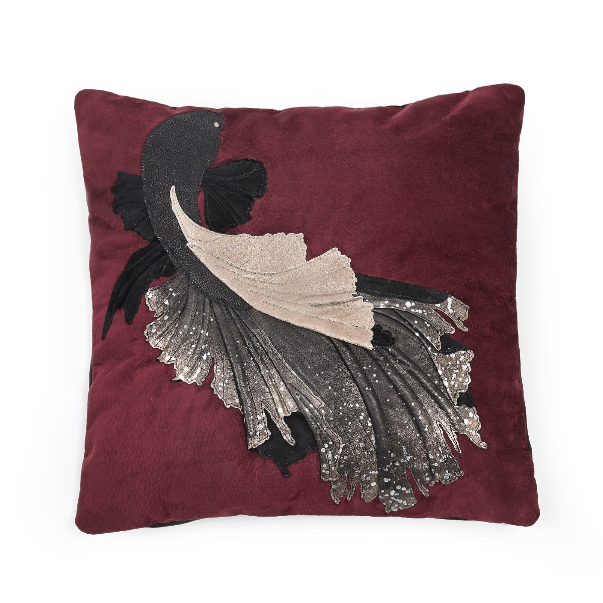 RED BETTA FISH Black Cushion Cover Feather Fibre Filled