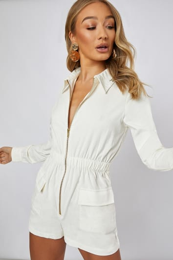96959f1e83 In stock. GLENDA IVORY CORD UTILITY PLAYSUIT