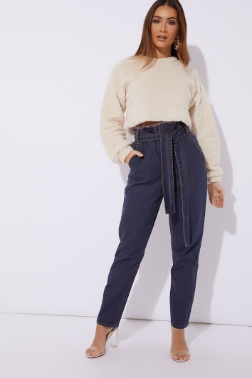 MAYA BLUE DENIM PAPERBAG TIE WAIST MOM JEANS