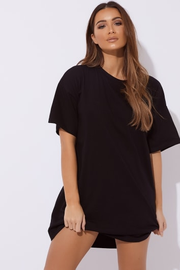 CYNDI BLACK BASIC T SHIRT DRESS