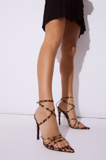 LIVVIE LEOPARD PRINT STRAPPY POINTED SOLE HEELS