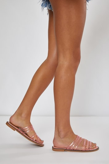 JUSTINIA PINK CLEAR DOUBLE STRAP SLIDERS
