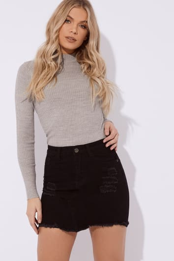 LASHONDIA BLACK STRETCH DENIM SKIRT