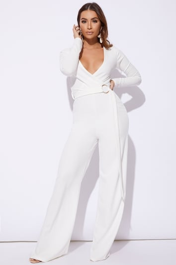 BILLIE FAIERS WHITE LONG SLEEVE RING DETAIL PALAZZO JUMPSUIT